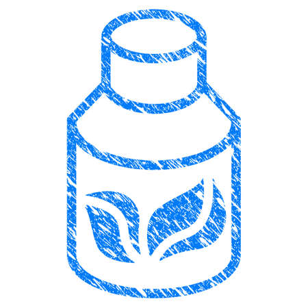 rubber tube: Grunge Natural Drugs icon with scratched design and grungy texture. Unclean raster blue Natural Drugs pictogram for rubber seal stamp imitations and watermarks. Draft emblem symbol. Stock Photo