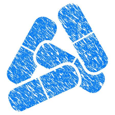 Grunge pillen pictogram met bekrast ontwerp en vuile textuur. Onrein rasterblauw Pillenpictogram voor imitatie en watermerken van rubberzegelzegels. Concept embleem symbool.