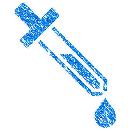 Grunge Pipette icon with scratched design and scratched texture. Unclean raster blue Pipette pictogram for rubber seal stamp imitations and watermarks. Draft sticker symbol.
