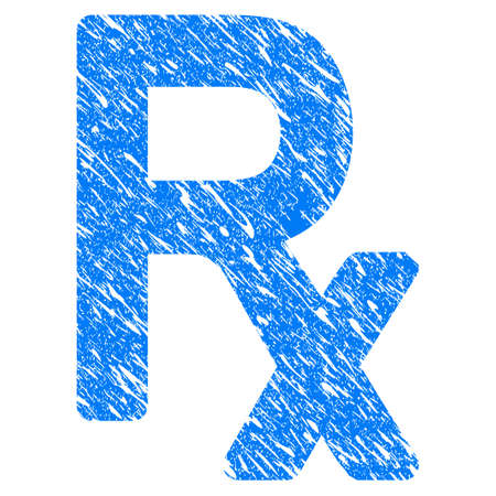 Grunge Rx Symbol icon with scratched design and unclean texture. Unclean raster blue Rx Symbol pictogram for rubber seal stamp imitations and watermarks. Draft emblem symbol.