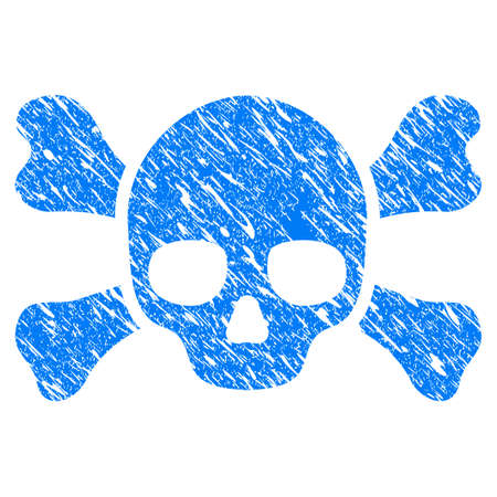 Grunge Skull Crossbones icon with scratched design and scratched texture. Unclean raster blue Skull Crossbones pictogram for rubber seal stamp imitations and watermarks. Draft sticker symbol.