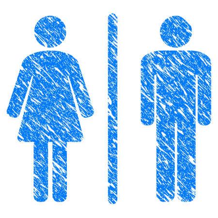 Schmutz-Toilettenikone mit verkratztem Design und unreiner Beschaffenheit. Unclean Rasterblau Toilettenpiktogramm für Gummidichtung Stempel Imitationen und Wasserzeichen. Entwurfsemblemsymbol.
