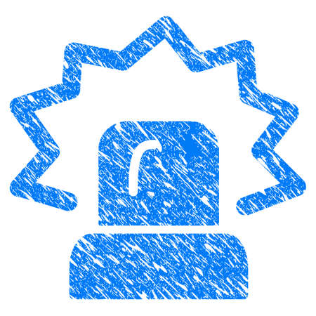 Grunge Alarm icon with scratched design and grungy texture. Unclean vector blue Alarm pictogram for rubber seal stamp imitations and watermarks. Draft emblem symbol.