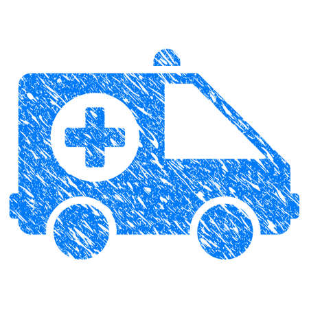 Grunge Ambulance Van icon with scratched design and grungy texture. Unclean vector blue Ambulance Van pictogram for rubber seal stamp imitations and watermarks. Draft sticker symbol. Çizim