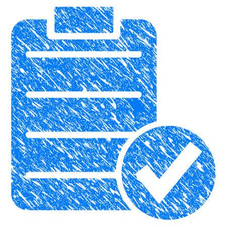 Grunge approuver l'icône de test avec un design rayé et la texture de la poussière. Bleu sale vecteur approuver le pictogramme de test pour les imitations de timbre en caoutchouc et les filigranes. Vecteurs