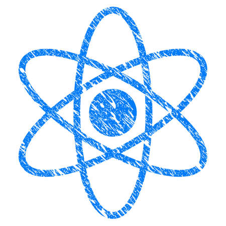 Grunge Atom icon with scratched design and dirty texture. Unclean vector blue Atom pictogram for rubber seal stamp imitations and watermarks. Draft emblem symbol.