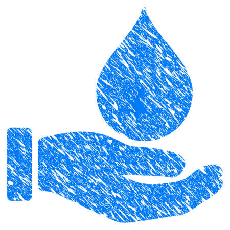 leak: Grunge Blood Donation Hand icon with scratched design and unclean texture. Unclean vector blue Blood Donation Hand pictogram for rubber seal stamp imitations and watermarks. Draft emblem symbol.