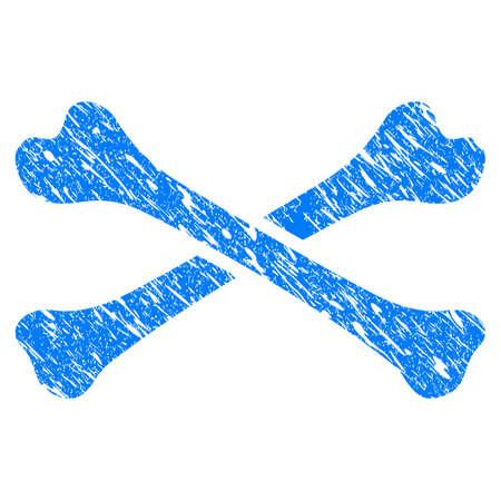 Grunge botten pictogram met gekrast ontwerp en vuile textuur. Onrein vector blauw botten pictogram voor rubberen afdichting stempel imitaties en watermerken. Concept embleem symbool. Stock Illustratie