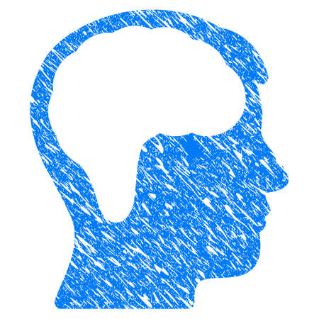 Grunge Brain icon with scratched design and scratched texture. Unclean vector blue Brain pictogram for rubber seal stamp imitations and watermarks. Draft sign symbol.