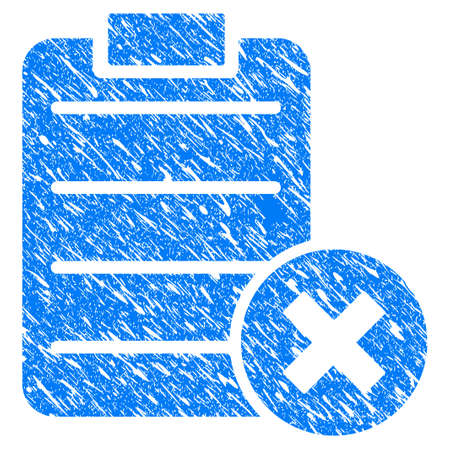 Grunge Cancel Test icon with scratched design and grungy texture. Unclean vector blue Cancel Test pictogram for rubber seal stamp imitations and watermarks. Draft sticker symbol. Illustration