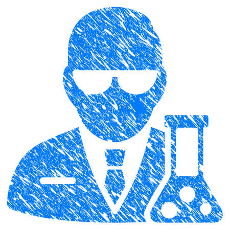 Grunge chemical scientist icon with scratched design and dust texture. Unclean vector blue chemical scientist pictogram for rubber seal stamp imitations and watermarks.