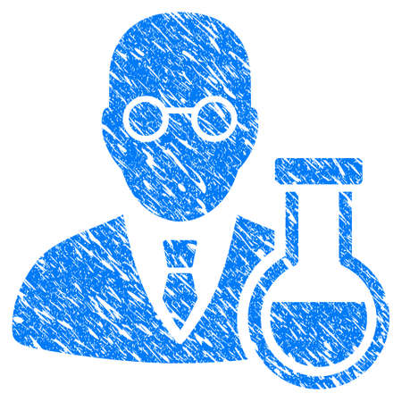 rubber tube: Grunge chemist icon with scratched design and grungy texture. Unclean vector blue chemist pictogram for rubber seal stamp imitations and watermarks.