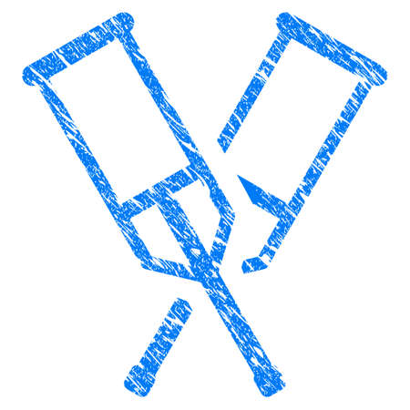 Grunge Crutches icon with scratched design and unclean texture. Unclean vector blue Crutches pictogram for rubber seal stamp imitations and watermarks. Draft sign symbol.