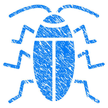 Grunge Cucaracha icon with scratched design and dirty texture. Unclean vector blue Cucaracha pictogram for rubber seal stamp imitations and watermarks. Draft sign symbol. Illustration