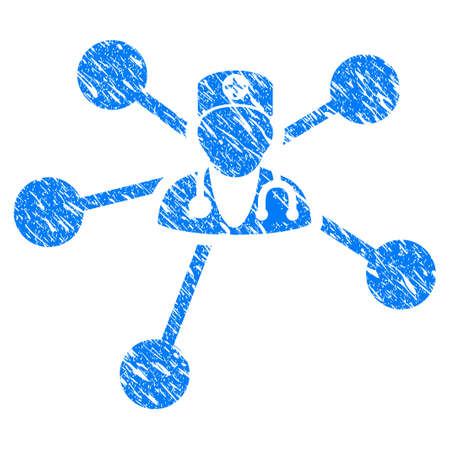 Grunge Doctor Relations icon with scratched design and dust texture. Unclean vector blue Doctor Relations pictogram for rubber seal stamp imitations and watermarks. Draft sign symbol.