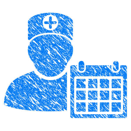Grunge Doctor Schedule Calendar icon with scratched design and unclean texture. Unclean vector blue Doctor Schedule Calendar pictogram for rubber seal stamp imitations and watermarks. Illustration