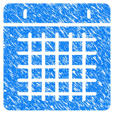 Grunge Duty Timetable icon with scratched design and dirty texture. Unclean vector blue Duty Timetable pictogram for rubber seal stamp imitations and watermarks. Draft sticker symbol.