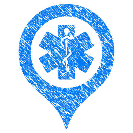 Grunge emergency map marker icon with scratched design and unclean texture. Unclean vector blue emergency map marker pictogram for rubber seal stamp imitations and watermarks.