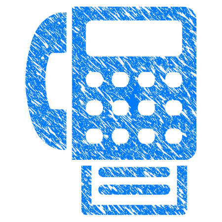 Grunge fax machine icon with scratched design and dust texture. Unclean vector blue fax machine pictogram for rubber seal stamp imitations and watermarks. Illustration