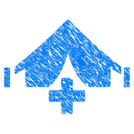 Grunge field hospital icon with scratched design and dirty texture. Unclean vector blue field hospital pictogram for rubber seal stamp imitations and watermarks. Çizim