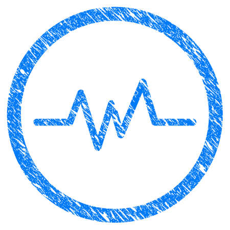 harmonic: Grunge Echogram icon with scratched design and unclean texture. Unclean vector blue Echogram pictogram for rubber seal stamp imitations and watermarks. Draft sign symbol.