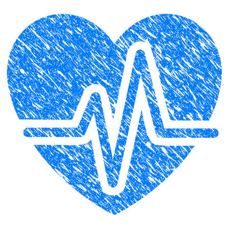 Grunge Heart Pulse icon with scratched design and unclean texture. Unclean vector blue Heart Pulse pictogram for rubber seal stamp imitations and watermarks. Draft sign symbol.