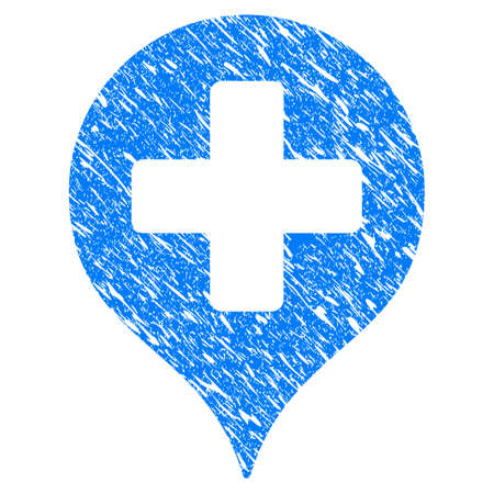 Grunge Hospital Cross Map Marker icon with scratched design and scratched texture. Unclean vector blue Hospital Cross Map Marker pictogram for rubber seal stamp imitations and watermarks.
