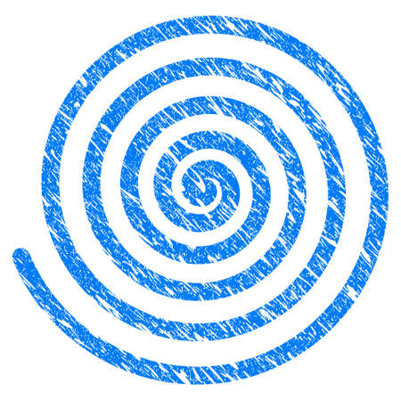 Grunge Hypnosis Spiral icon with scratched design and dirty texture. Unclean vector blue Hypnosis Spiral pictogram for rubber seal stamp imitations and watermarks. Draft sticker symbol. Illustration