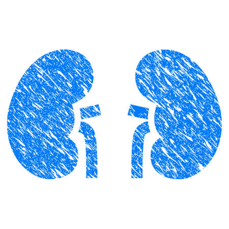 Grunge Kidneys icon with scratched design and unclean texture. Unclean vector blue Kidneys pictogram for rubber seal stamp imitations and watermarks. Draft sign symbol. Illustration