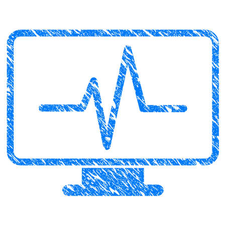 Grunge Line Chart Monitoring icon with scratched design and dust texture. Unclean vector blue Line Chart Monitoring pictogram for rubber seal stamp imitations and watermarks. Draft emblem symbol. Illustration