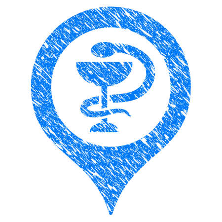 Grunge Hospital Map Marker icon with scratched design and dirty texture. Unclean vector blue Hospital Map Marker pictogram for rubber seal stamp imitations and watermarks. Draft emblem symbol.