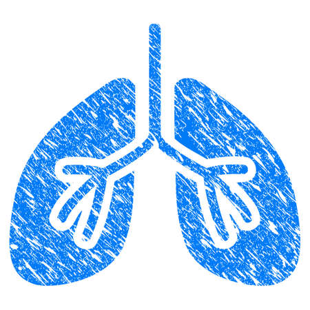 Grunge Lungs icon with scratched design and grungy texture. Unclean vector blue Lungs pictogram for rubber seal stamp imitations and watermarks. Draft emblem symbol.