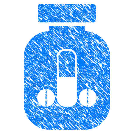 Grunge Male Power Vial icon with scratched design and scratched texture. Unclean vector blue Male Power Vial pictogram for rubber seal stamp imitations and watermarks. Draft emblem symbol. Illustration