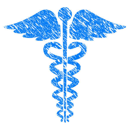 esculapio: Grunge Medical Caduceus Emblem icon with scratched design and scratched texture. Unclean vector blue Medical Caduceus Emblem pictogram for rubber seal stamp imitations and watermarks. Vectores