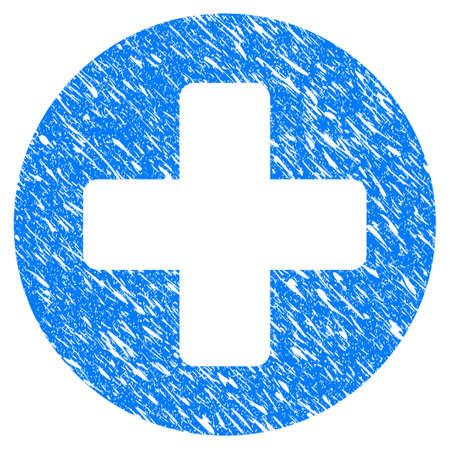 Icône grunge médical Croix croisée avec un design rayé et la texture de la poussière. Impeccable vecteur bleu pictogramme Croix Médicale Croix pour les imitations et les filigranes de timbre de joint en caoutchouc. Symbole de l'emblème de projet. Banque d'images - 88560486