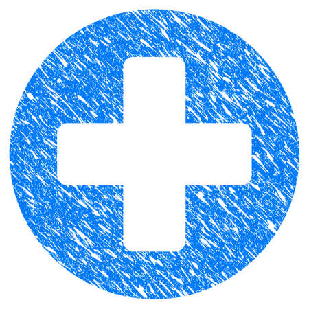 Grunge Medical Rounded Cross icon with scratched design and dust texture. Unclean vector blue Medical Rounded Cross pictogram for rubber seal stamp imitations and watermarks. Draft emblem symbol. Illustration