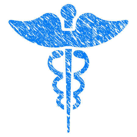 esculapio: Grunge Medicine Caduceus Symbol icon with scratched design and dirty texture. Unclean vector blue Medicine Caduceus Symbol pictogram for rubber seal stamp imitations and watermarks.