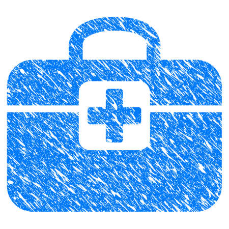 Grunge Medkit icon with scratched design and grungy texture. Unclean vector blue Medkit pictogram for rubber seal stamp imitations and watermarks. Draft sign symbol.