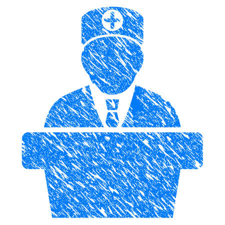 bureaucrat: Grunge Official Doctor Tribune icon with scratched design and scratched texture. Unclean vector blue Official Doctor Tribune pictogram for rubber seal stamp imitations and watermarks.