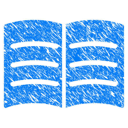 Grunge Open Book icon with scratched design and unclean texture. Unclean vector blue Open Book pictogram for rubber seal stamp imitations and watermarks. Draft sign symbol.