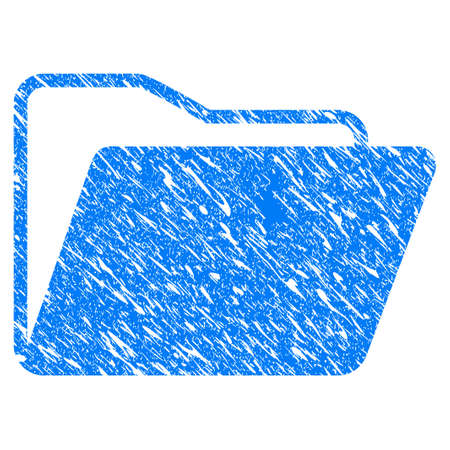 Grunge Open Folder icon with scratched design and dirty texture. Unclean vector blue Open Folder pictogram for rubber seal stamp imitations and watermarks. Draft sticker symbol.