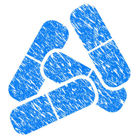 Grunge Pills icon with scratched design and unclean texture. Unclean vector blue Pills pictogram for rubber seal stamp imitations and watermarks. Draft sign symbol.