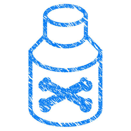 Grunge Poison Phial icon with scratched design and grungy texture. Unclean vector blue Poison Phial pictogram for rubber seal stamp imitations and watermarks. Draft sticker symbol. Illustration