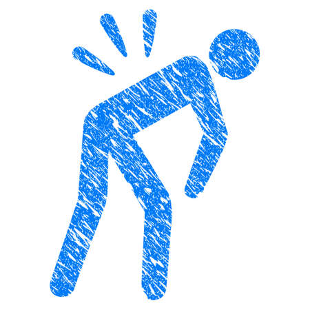 Grunge Sciatica Back Pain icon with scratched design and dust texture. Unclean vector blue Sciatica Back Pain pictogram for rubber seal stamp imitations and watermarks. Draft emblem symbol.