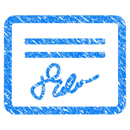 Grunge Signed Cheque icon with scratched design and unclean texture. Unclean vector blue Signed Cheque pictogram for rubber seal stamp imitations and watermarks. Draft emblem symbol.