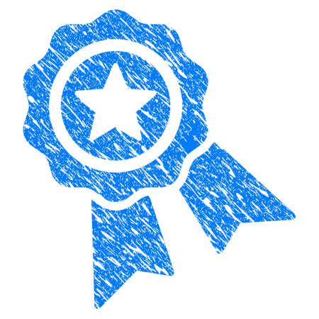 confirm: Grunge Star Quality Seal icon with scratched design and dirty texture. Unclean vector blue Star Quality Seal pictogram for rubber seal stamp imitations and watermarks. Draft sticker symbol. Illustration