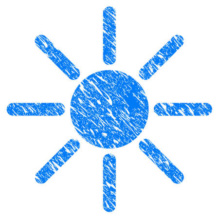 Grunge Sun icon with scratched design and dust texture. Unclean vector blue Sun pictogram for rubber seal stamp imitations and watermarks. Draft emblem symbol. Illustration