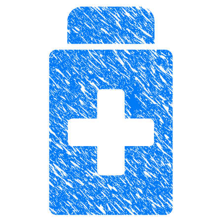 Grunge Treatment Vial icon with scratched design and unclean texture. Unclean vector blue Treatment Vial pictogram for rubber seal stamp imitations and watermarks. Draft emblem symbol.