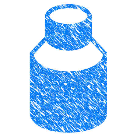 rubber tube: Grunge Vial icon with scratched design and dirty texture. Unclean vector blue Vial pictogram for rubber seal stamp imitations and watermarks. Draft sticker symbol.