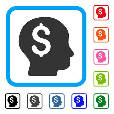 Banker icon. Flat grey pictogram symbol inside a light blue rounded frame. . Illustration